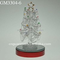 factory price hotsell artificial led lighted glass christmas tree for decoration