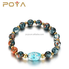 POYA Jewelry Fashion Women's Stainless Steel Multi Colored Natural Stone Bead Bracelet