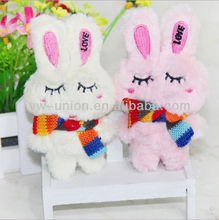 Sleepy rabbit plush keychain toy with rainbow color scarf