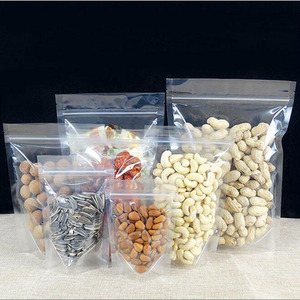 Reclosable clear stand up sealing package bags Thicken plastic packaging nut tea coffee dried fruit pouches