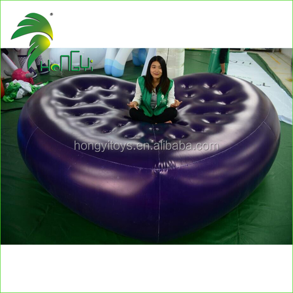 funny customized inflatable mattress bed convenient heart shape pvc bed
