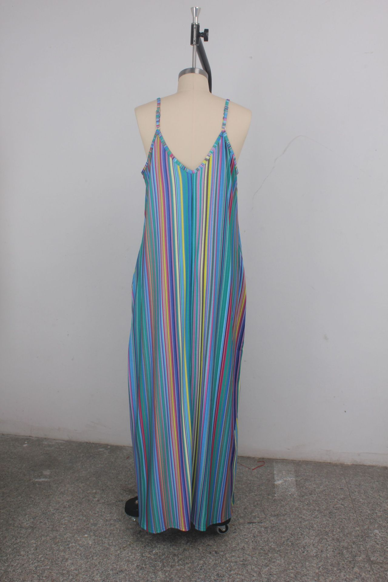 9308 women Summer loose dress plus size maxi dress with pockets vertical stripes dress