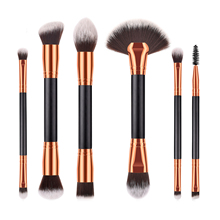 New Product Professional 6 pcs Dual End Wood Handle Travel Make Up <strong>Brushes</strong> Daily Eyeshadow Eyebrow Cosmetics Makeup <strong>Brush</strong> Set