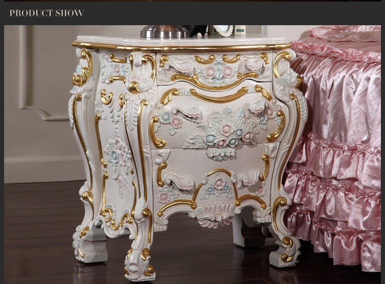 europe style manufacturer price trade china import bedstand/bedside table-solid wood hand carved bedroom furniture