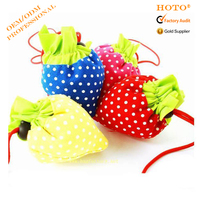 190T polyester nylon folding bag/strawberry shaped gift bag/shopping foldable tote bag