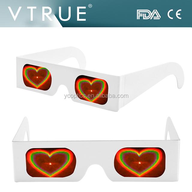 heart shape paper fireworks diffraction rainbow 3D glassses , paper frame glasses