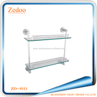 ZD-9513 Double Glass Shelf Strong Space Aluminum And Glass Material Wall Mounted Shapely Bathroom Shelf Wire Rack Shelf