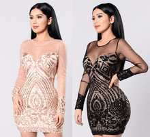 X85951A sexy one piece night club dress pattern for women transparent sequin mesh short frock party dress