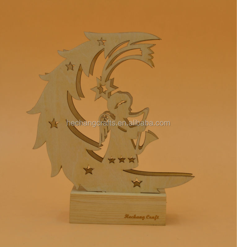 2015 laser cutting wooden angle decoration with light