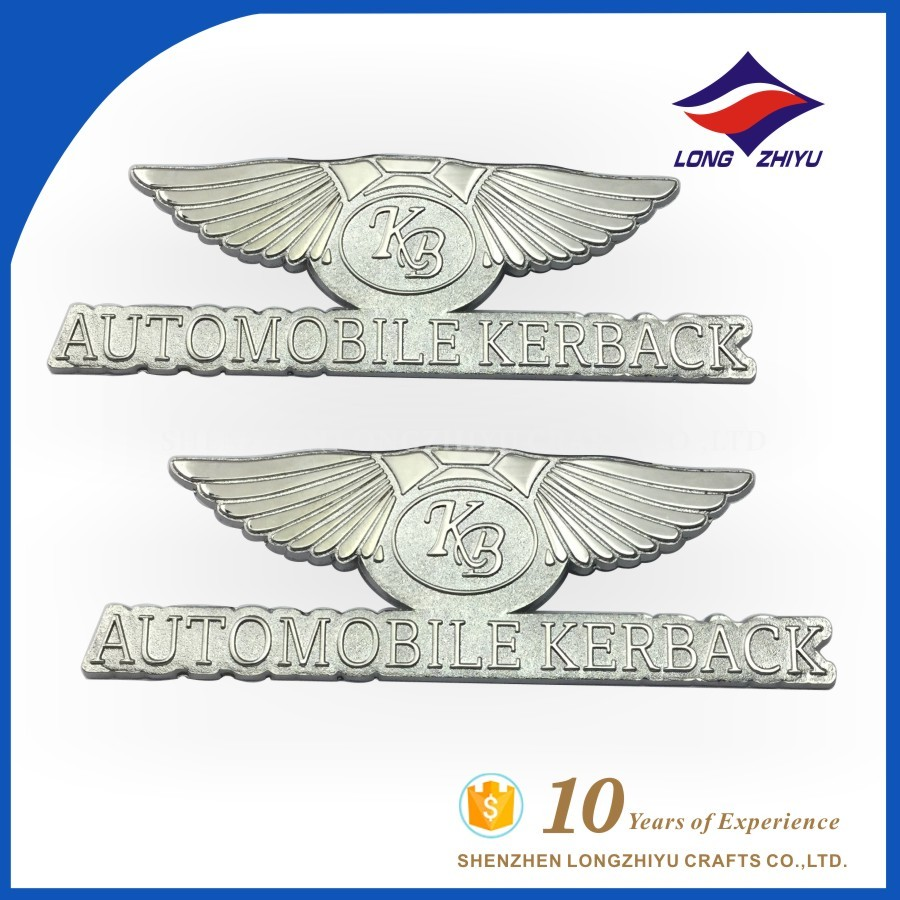 Zinc alloy your own company logo custom emblems/metal logo name plates/shiny chrome self adhesive badges label