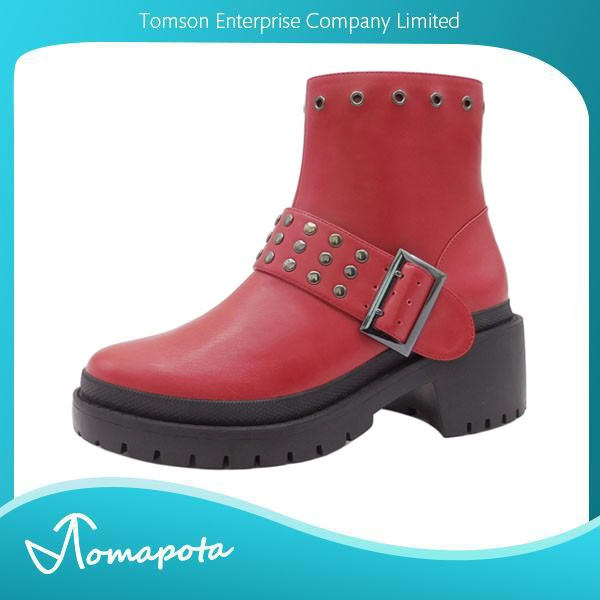 Ladies motorcycle style boots women red punk rock chunky heel with pewter studded buckle booties