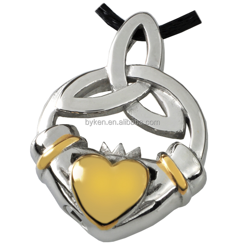 Premium Stainless Steel Claddagh Knot Pet Cremation Jewelry