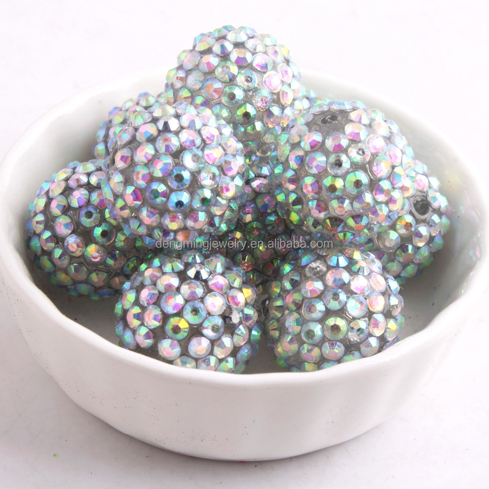 Silver AB Color Resin Rhinestone Ball Beads for Kids Chunky Necklace Jewelry Supplier 10MM to 30MM Stock
