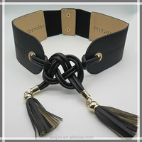 Fashionable wide elastic belt with tassels for dresses