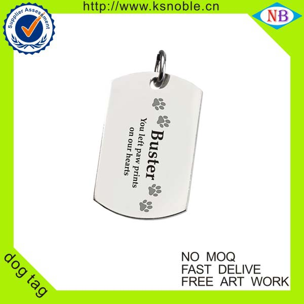 Wholesale polished tag custom printing stainless steel dog tag
