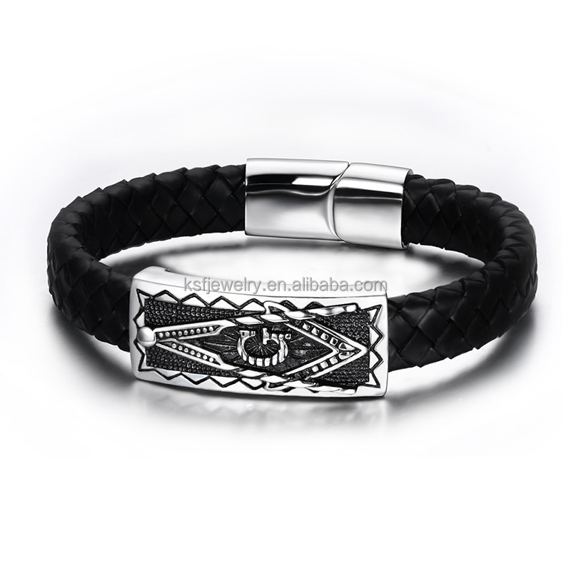 Black Genuine Masonic Leather Bracelet Shenzhen <strong>Jewelry</strong>
