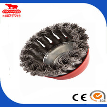 HD108 aggressive round twist knot steel wire cup brush
