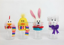 Animal head plush toy with plastic candy jar for Easter decoration
