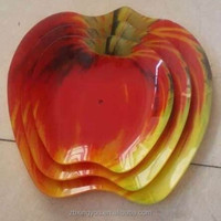 wholesale decorative red 3pcs apple shape glass plate for fruit