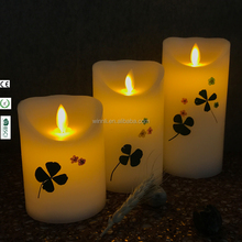 LED moving wick flameless crafts candles with dried flowers decoration