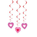 Valentines Day Red & Pink Swirl Hearts Hanging Decorations for party