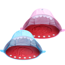 Dropshipping Polyester Shark style Pop Up Portable Foldable light weight Baby Beach <strong>Tent</strong>