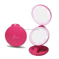 Tri folding makeup mirror lighting / 10X magnification makeup mirror round / lighted cosmetic mirror with lighting on two sides