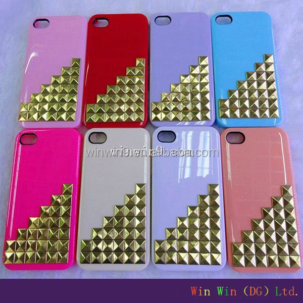 crystal skull phone case for Cool punk spikes studs rivet