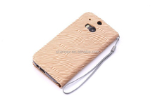 supplier on alibaba High Quality wood leather texture flip case cover for HTC one m8