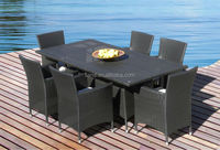 Outdoor Patio Wicker Furniture All Weather 7-Piece cube set table outdoor dining set