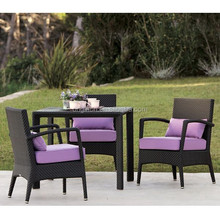 3 Seater classic design for casual/formal gatherings garden patio furniture with square table and rattan dining chair