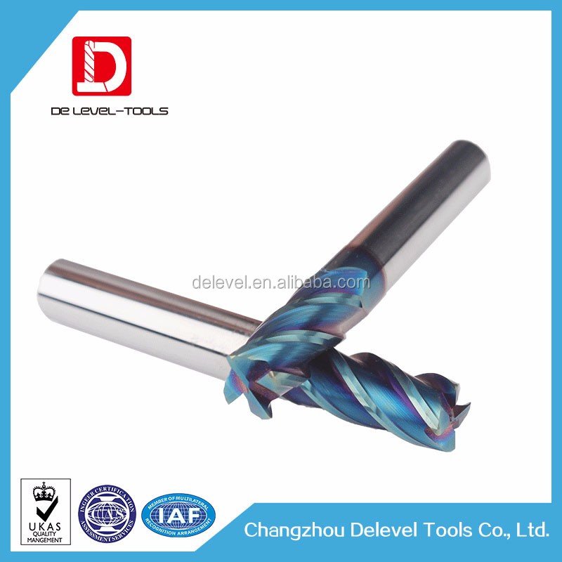 Delevel Tungsten Carbide 2 Flute Bull Nose End Mills Cutter