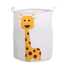 Ramie Cotton Fabric Animal Folding Laundry Hamper Basket