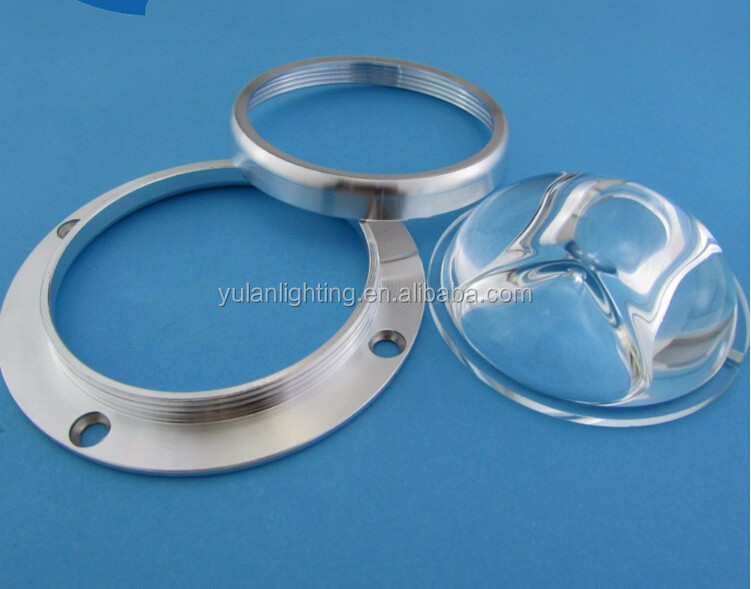 LED optical glass lens 107mm *87mm silicon gasket+ reflector + aluminum cover magnifying lens 150*70 degree
