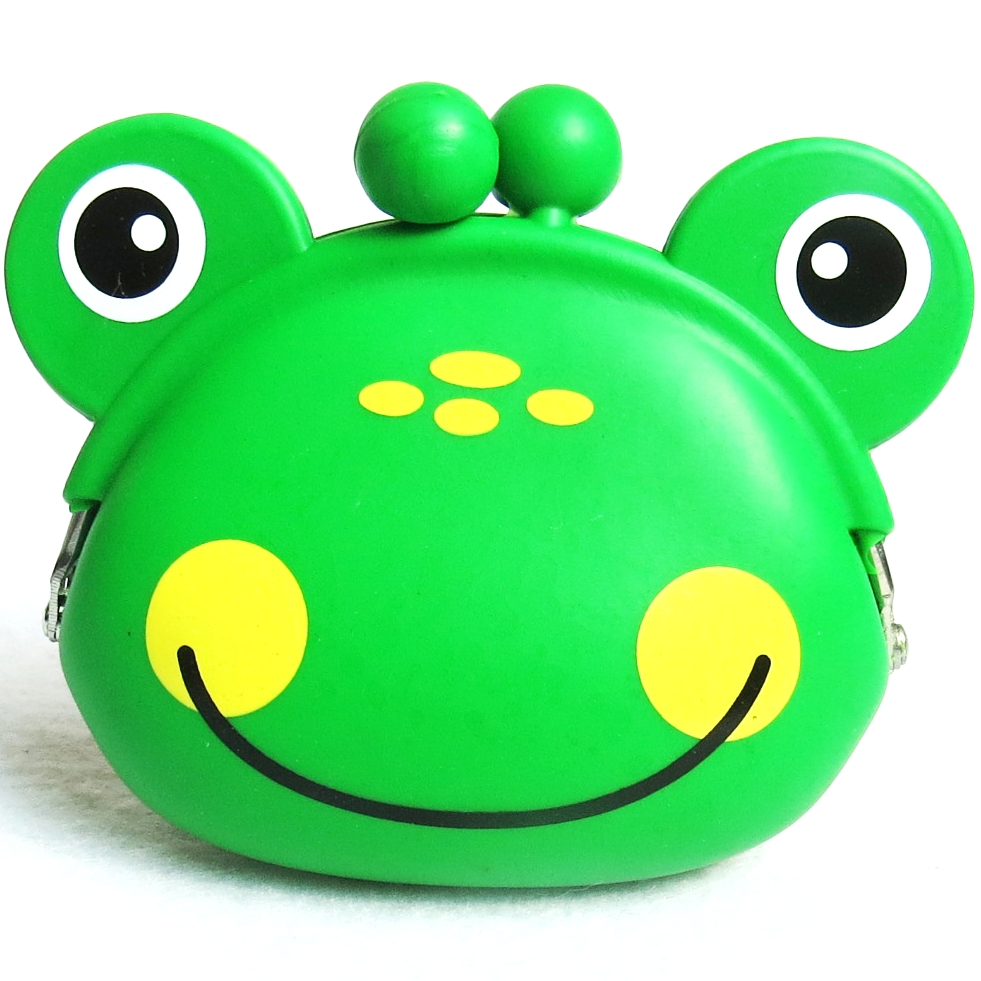 Green Frog silicone coin purse, soft cover coin purse, waterproof coin purse