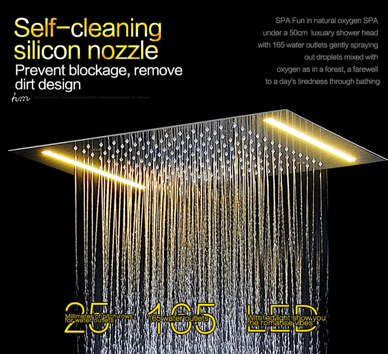 electric shower single led color recessed ceiling shower set with wall body spray jets