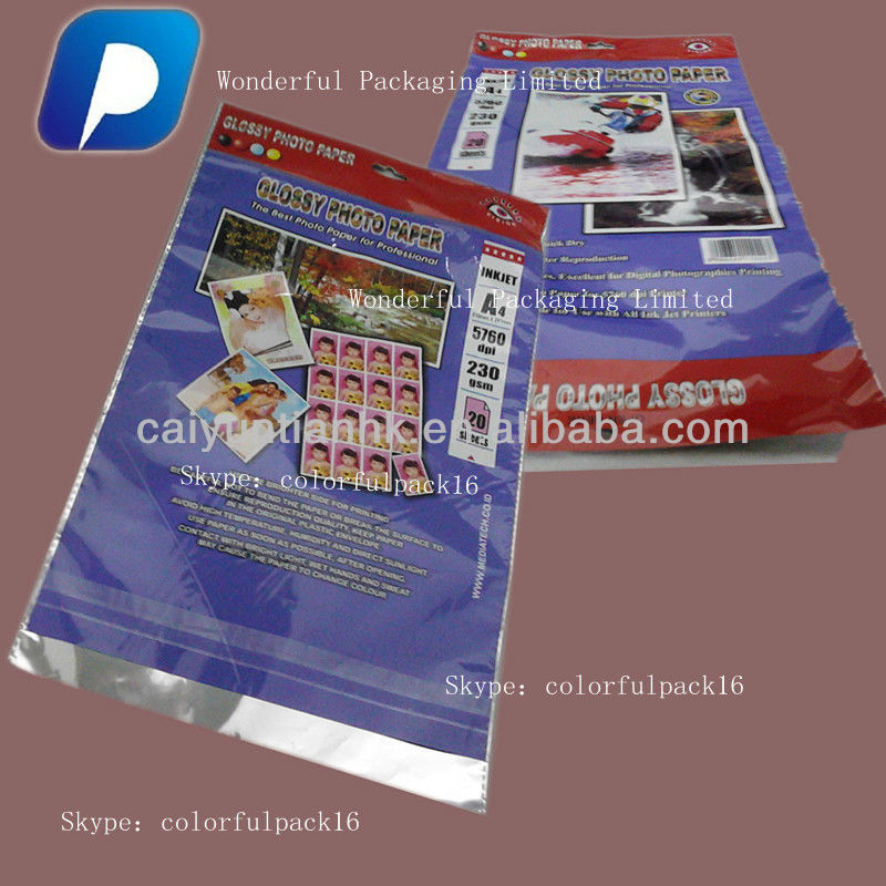 Photo Paper Packaging Bags/ bags for photo paper/photo bag with Dotted Line