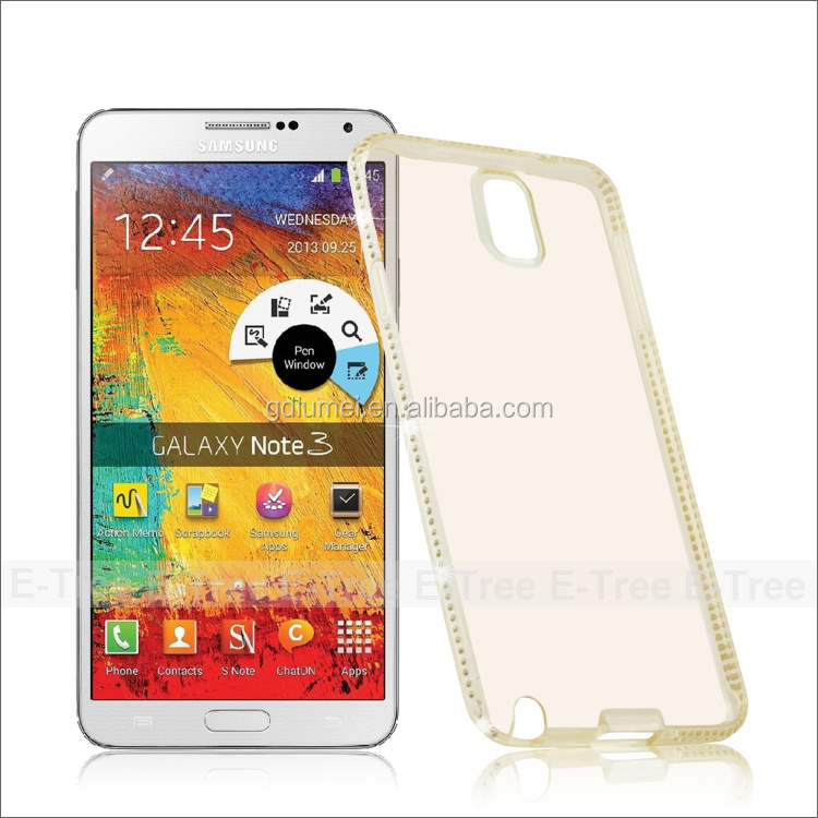 Luxury Crystal Diamond Bling Case Ultra Thin TPU Silicone Gel Cover with Glitter Bumper Clear Case for Samsung Galaxy note3