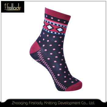 Full color pattern lady knitted cotton socks