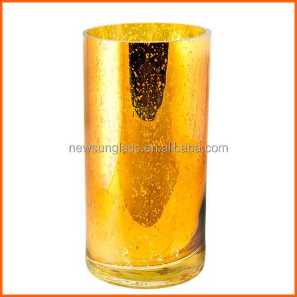High quality gold colored glass vases wholesale