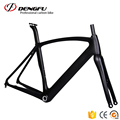 Dengfu 700C Carbon Bike Flat Mount Disc Road Frame BB30 BSA Aero Frameset Fork Seatpost
