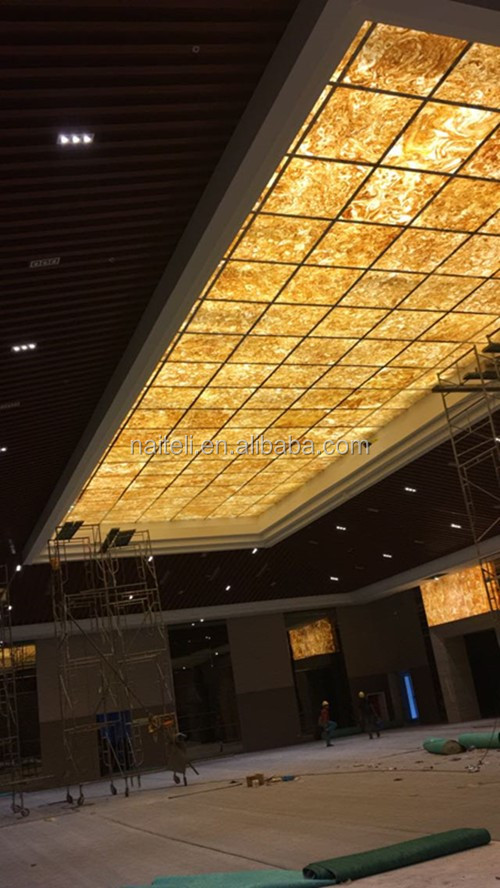 artificial Translucent onyx marble Backlit reflective 4x8 ceiling panels