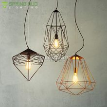Zhongshan light OEM ODM indoor living room E27 hanging wire iron Nordic style cage pendant lamp fixture