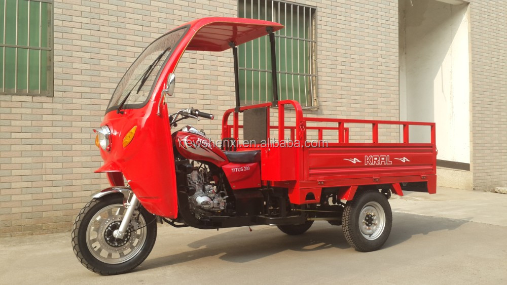 Big Power 200cc Three Wheel Cargo Tricycle With Carbin Flower Pattern For Sale