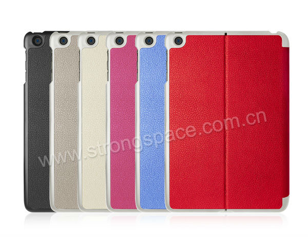 for apple ipad mini smart cover, folding and magnetic leather case