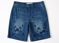 2016 fashion top design girls embroidery Short Distressed women Blue Denim short pants half pants Jeans shorts