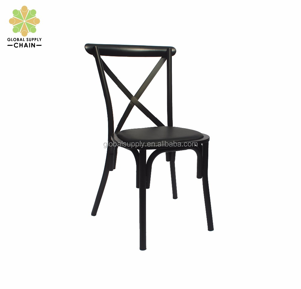 french style industrial metal cross back chair dining chair