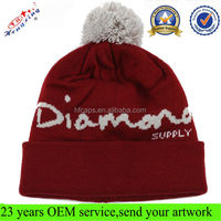 Fashion Slouchy Winter Ski Knitted Cheap Pom Burgundy Beanie Winter Hats