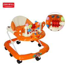 Zhorya 8 wheels adjustable seat height baby walker with brake and musical toy