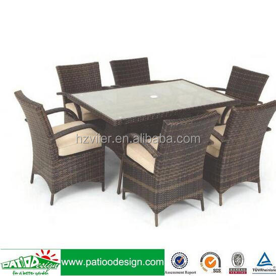 Garden rattan chaise furniture 6 seaters dining table set with arm chair